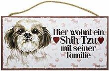 Holzschild Tierschild Hund Deko Shih Tzu mit seiner Familie