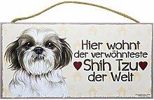 Holzschild Tierschild Hund Deko Verwöhnter Shih Tzu