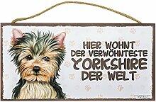 Holzschild Tierschild Hund Deko Yorkshire