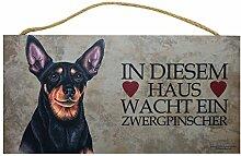 Holzschild Tierschild Hund Deko Zwergpinscher