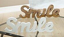 Holzschriftzug 'Smile' Mangoholz hellbraun - Gilde