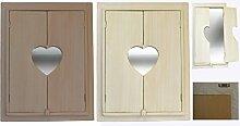 Holzspiegel Dekospiegel Türen Holz Spiegel Wandspiegel Hängespiegel Shabby Chic (Weiß Washed)