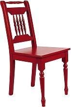 Holzstuhl in Rot Fichte Massivholz