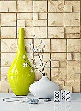 Holztapete in Beige Natur , schöne edle Tapete im Holz Balken Design , moderne 3D Optik für Wohnzimmer, Schlafzimmer oder Küche inklusive Newroom Tapezier Ratgeber mit Tipps für perfekte Wände
