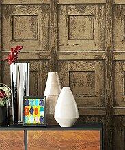 Holztapete Vliestapete Beige Braun Edel , schöne edle Tapete im Holzwand Vertäfelung Design , moderne 3D Optik für Wohnzimmer Schlafzimmer od. Küche inkl. Newroom TapezierProfibroschüre mit super Tipps