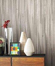 Holztapete Vliestapete Grau Weiß Edel , schöne edle Tapete im Holzwand Vertäfelung Design , moderne 3D Optik für Wohnzimmer Schlafzimmer od. Küche inkl. Newroom TapezierProfibroschüre mit super Tipps