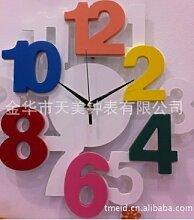 Holztechnologie Uhr Hauptdekor kreative digitale Wanduhr,A