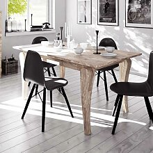 Holztisch aus Eiche Massivholz weiß geölt