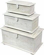 Holztruhe mit Schnitzereien Schmuckkiste Schatztruhe Schatzkiste Holz Kiste Box Dose Truhe Aufbewahrung Blumen Palmenholz Weiß ca. 40 cm