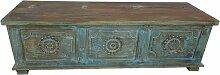 Holztruhe Truhe Kiste Vintage blau Massiv aus