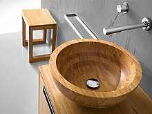 Holzwaschbecken Aufsatzwaschbecken Massivholz natur rund 43cm massiv