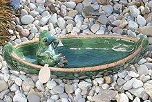 Holzwurm Vogeltränke Frosch im Kanu, Keramik
