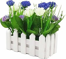Holzzaun Simulation Blumen Carnation,2 Paar (Blau)