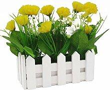 Holzzaun Simulation Blumen Carnation, 2 Paar (Gelb)