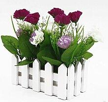 Holzzaun Simulation Blumen Carnation, 2 Paar (Lila)