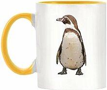 Homboldt Pinguin Bild Design zweifarbige Becher mit gelbem Griff & Innen