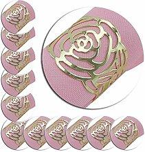 Homclo Gold Serviettenringe Rose metall