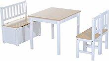 Homcom® 4-tlg. Kindersitzgruppe 1 x Kindertisch 2 x Kinderstuhl 1 x Kinderbank Kindermöbel Holz