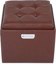Homcom Aufbewahrung Fuß Hocker Ottoman PU Kunstleder Fußhocker Fußstütze einzigen Sitz Cube Box w/Deckel (braun)