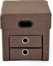 Homcom® Faltbarer Sitzhocker Sitzwürfel mit Stauraum Aufbewahrungsbox Sitzbank Hocker (Modell2/ braun)