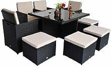 Homcom Garten Rattan Möbel Aluminium Outdoor Terrasse Set Cube Weave Geflecht Esszimmerstühle–Schwarz (9Stück)