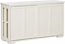 HOMCOM Küchenschrank mit Schiebetüren Weiß