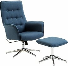 Homcom Leinen Büro Drehstuhl Hocker Set Modern liegend Armlehnen Stuhl Wingback Schreibtisch Sitz–Blau