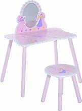 Homcom Mädchen rosa Holz Kinder Schminktisch & Hocker Make Up Schreibtisch Stuhl Toys Fairy Dresser Play Set w/Spiegel