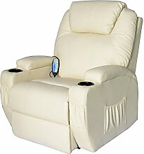 Homcom® Massagesessel Relaxsessel mit Wärmefunktion Fernsehsessel Sessel Creme