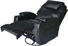 Homcom® Massagesessel Relaxsessel mit Wärmefunktion Fernsehsessel Sessel Schwarz