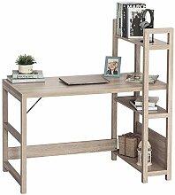 HOMCOM Schreibtisch mit 4 Ebenen Bücherregal,