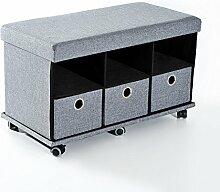 Homcom® Schuhbank Sitzhocker Schuhregal Schuhtruhe Aufbewahrungsbox mit Rollen (Modell2/ grau)