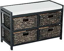 Homcom® Sitzbank Sitztruhe Truhenbank Gepolsterte Flurbank mit Körben Aufbewahrung Holz