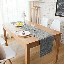 Homcomoda Tischläufer Waschbar Hitzebeständig PVC Esstisch Läufer Tischläufer für Esstisch 30x180cm (Grau)