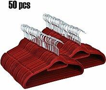 Homdox 50-er Set Beflockte Kleiderbügel Anzugbügel Garderobenbügel Mantel Hosen Bügel Aufhänger mit rutschfester Oberfläche superdünn 0,5 cm dick Weinro