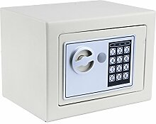 Homdox Elektronischer Safe Tresor Minisafe Minitresor Wandtresor Stahlsafe Möbeltresor Wandsafe mit digitalem Zahlenschloss 23 x 17 x 17 cm inkl. 4 Batterien und 2 Schlüssel (Weiß)