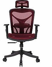 Homdox Ergonomischer Bürostuhl Verstellbarer Computerstuhl Chefstuhl mit Hoch Rücken und Armlehnen in 2 Farbe (Rot)