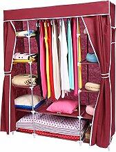 Homdox Kleiderschrank Garderobe Stoffschrank Faltschrank Campingschrank (Rot)