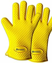 Homdox Neue Silikon Wärme Grill Hauptküche Handschuhe,Gelb