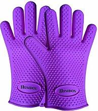 Homdox Neue Silikon Wärme Grill Hauptküche Handschuhe,Lila