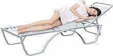 Homdox XXL Luxus Liegestuhl Sonnenliege Gartenliege Relaxliege Stahl mit elastischen Gurten + verstellbarer Rückenlehne (Weiß)