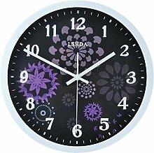 HOME-12 Zoll schwarz Glocke stumm Europäische Retro-Wanduhr