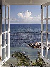 Home affaire Glasbild Fenster mit Ausblick 60x80