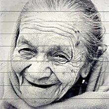 Home affaire Holzbild Gesicht einer alten Frau