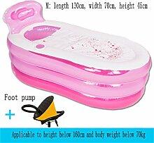 Home Aufblasbare Schwimmbäder Aufblasbare Badewanne Dicker Halten Sie die Temperatur Erwachsene Kind Familie Badewanne Faltbare Bad Barrel WXP-Schwimmbecken ( Farbe : Pink , größe : Foot pump-M )