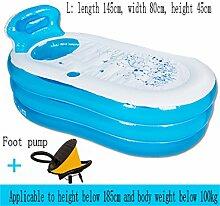 Home Aufblasbare Schwimmbäder Aufblasbare Badewanne Dicker Halten Sie die Temperatur Erwachsene Kind Familie Badewanne Faltbare Bad Barrel WXP-Schwimmbecken ( Farbe : Blau , größe : Foot pump-L )
