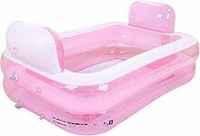 Home Aufblasbare Schwimmbäder Aufblasbare Badewanne verdicken Erwachsene Badewanne Faltbare Kind Badestelle Badewanne Kunststoff Badewanne Geschenk Pumpe WXP-Schwimmbecken ( Farbe : Pink )