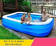 Home Aufblasbare Schwimmbäder Baby Kind Aufblasbarer Swimmingpool Familie Marinekugel Pool Erwachsene Planschbecken Aufblasbare Badewanne Teich Wasserspielplatz L Transparent Blau WXP-Schwimmbecken ( größe : 200*150*60cm )