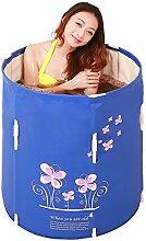 Home Aufblasbare Schwimmbäder Badewanne Eindickung Erwachsene Badewanne Faltbare auf und ab Kind nehmen Sie ein Bad Badewanne Kunststoff Bad Fässer Geschenk Blau WXP-Schwimmbecken