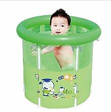 Home Aufblasbare Schwimmbäder Grün Faltbad Bad Fässer Erwachsene Kinder Badewanne Inflated Thicker Isolierung Bad Fässer (mit aufblasbaren Pumpe) WXP-Schwimmbecken ( größe : 80*90cm )